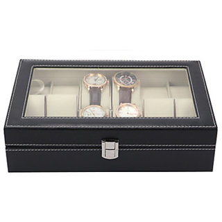 High-Grade 12 Slot PU Leather Watch Storage Display