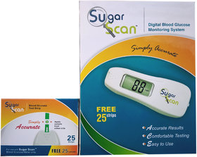 Thyrocare Sugar Scan Glucometer Blood Sugar Monitoring Kit with additional one pack of 25 glucostips