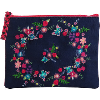 Pinaken Butterfly Bloom Embroidered Embellished Multicolor Coin Pouch
