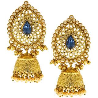 Anuradha Art Blue Colour Fancy Party Wear Designer Traditional Jhumki/Jhumkas Earrings For Women/Girls