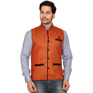 Conwey Cotton Orange Nehru Jacket