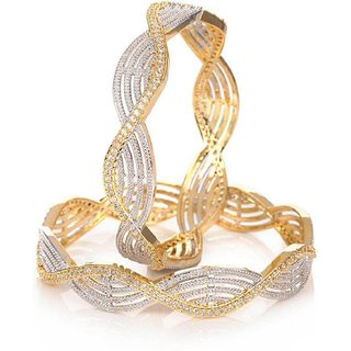 American Diamond Gold Plated Bangles Set for Women and Girls_2.6