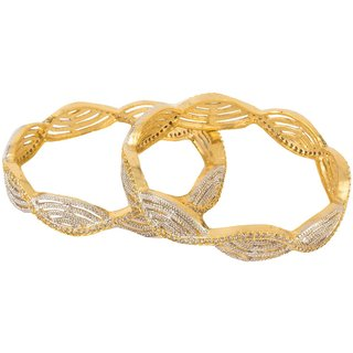 American Diamond Gold Plated Bangles Set for Girls_2.4