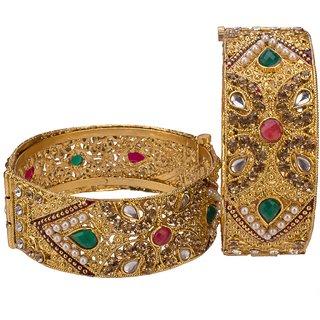 Gold PlatedMulti Stone Bangles Kada for Girls and Women