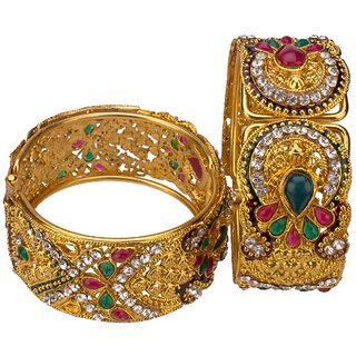 Gold Plated Green Stone Bangles Set Size_Adjustable
