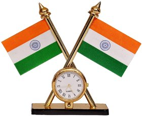 Flag Indian Flag Holder with Watch- Indian Flag Cross Design Dashboard Stand for Table- Double Sided Cross Flag Stand with Classic Stand for Table
