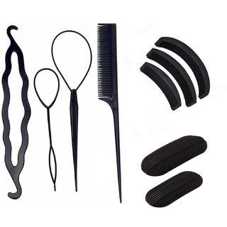 NERR Combo Of Braid Ponytail Hair Bun Maker + Hair Volumizer + Tick Tack Puff / Hair Accessories