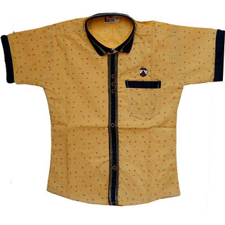 Faynci premier Solid Casual Brown Shirt for Boy