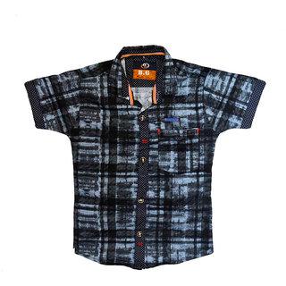 Faynci premier Solid Casual Black/grey  Shirt for Boy