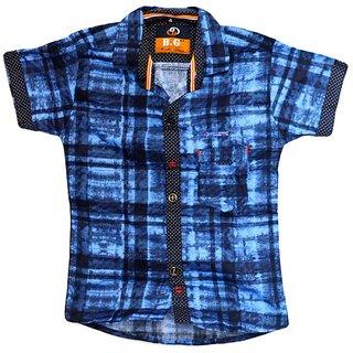 Faynci premier Solid Casual Black/Blue Shirt for Boy