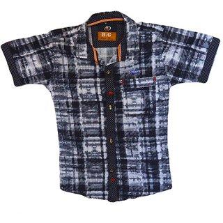 Faynci premier Solid Casual Black/White Shirt for Boy
