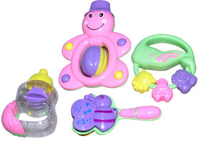 Imstar High Quality Non Toxic Baby Toys Rattle Set of 4 Pieces for Infants and Toddlers - Multi color