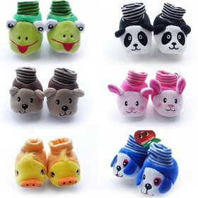 Set Of 2  Pair Born Baby Fancy Cartoon Face Socks cum Shoes ( Random Design / Color )