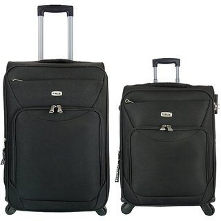 Timus Upbeat Spinner Black 55 & 65 Cm 4 WheelTrolleySuitcase Expandable Cabin And Check-In Luggage-24 Inch (Black)