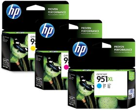 HP 951XL Color Ink Cartridge - Combo 3 Pack Cyan , Yell