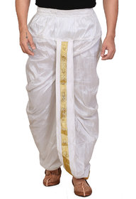 Conway White Silk Ready Made Dhoti