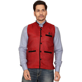 Conway Cotton Maroon Nehru Jacket