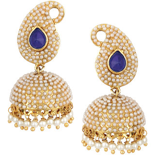 Fashion Jewels Blue Golden White Casual Partywear Dailywear Wedding Pearl Jhumka Jhumki