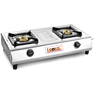ISOUL INDIAu0027S BEST SELLING JAMBO BODY STAINLESS STEEL 2 BURNER GAS STOVE