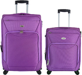 Timus Upbeat Spinner Wine 55 & 65 Cm 4 Wheel Trolley Expandable Cabin And Check-In Luggage-24 Inch (Purple)