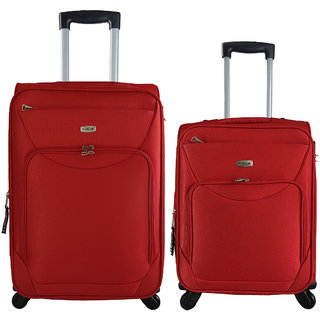 Timus Upbeat Spinner Red 55 & 65 Cm 4 WheelTrolleySuitcase ExpandableCabin And Check-In Luggage -24 Inch (Red)