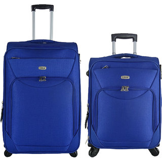 Timus Upbeat Spinner Blue 55 & 65 Cm 4 WheelTrolleySuitcase Expandable Cabin And Check-In Luggage-24 Inch (Blue)