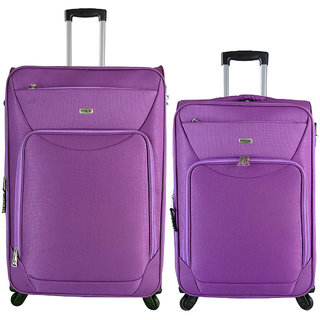Timus Upbeat Spinner Wine 65 & 75 cm 4 Wheel Strolley Suitcase SET OF 2 Expandable  Check-in Luggage - 28 inch (Purple)