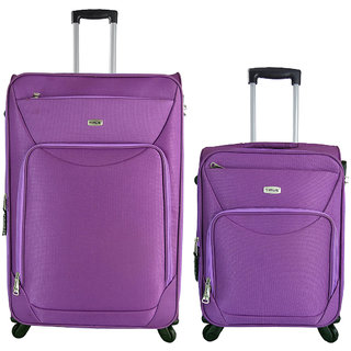 Timus Upbeat Spinner Wine 55 & 75 cm 4 Wheel Strolley Suitcase SET OF 2 Expandable  Cabin and Check-in Luggage - 28 inch (Purple)