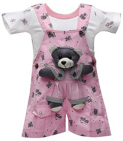 Baloons Baby Dungaree For kids Printed Cotton(pink)