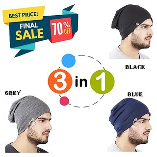 8ad4e72f389 Buy Beanie Stylish Cap Men Beanie Baggy Slouchy cap hat with Ring thin  winter fall Hat (Color Black + Blue + Grey) Online - Get 81% Off