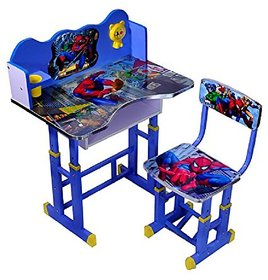 KIDS STUDY TABLE AND CHAIR SET (ADJUSTABLE) WOODEN SPIDERMAN