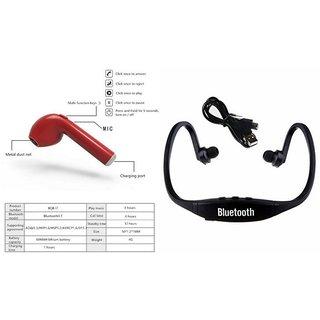 CLAIRBELL Bluetooth Headset & BS19C Bluetooth Headset for HTC U play(HBQ I7R Bluetooth Headset | BS19C Bluetooth Headset With Mic Sports Headset )
