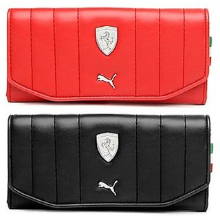Puma Black-Red Clutch Wallet For Women