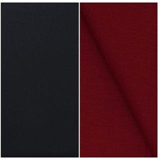 Kundan Sulz Gwalior Men's Executive Pure Cotton Linen Blended Shirt & Matt Finish Navy Blue Colour Formal Trouser Fabric Combo Set ( 1 Pant Shirt Piece for Men )