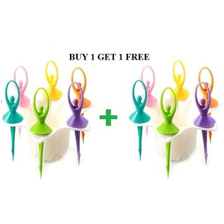 Dancing Dolls Fruit Fork 6 Pcs With Stand (BUY 1 GET 1 FREE)
