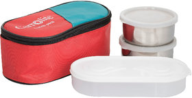 Philco 3 in 1 Red Lunchbox-2 Steel Container1 Plastic Chapati tray