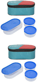 Set Of 2 Green 3 in 1 Lunchbox-2 Plastic Container  1 Plastic Chapati tray