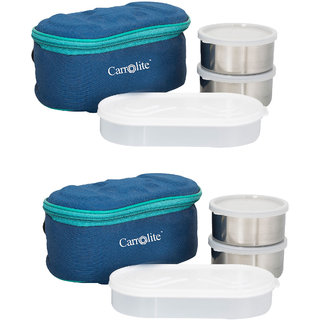 Combo Browny Blue Lunchbox-4 Steel Container2 Plastic Chapati tray