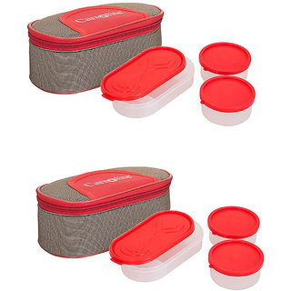 Set Of 2 Solace Red-Brown Lunchbox-2 Plastic Container  1 Plastic Chapati tray