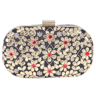 Tarusa Gold Self Design Clutch
