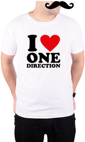 Mooch Wale I Love One Direction  White Quick-Dri T-shirt For Men