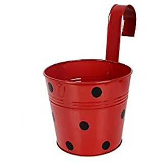 Going Greens Single Railing Pot - Red Polka / Metal Railing Pot