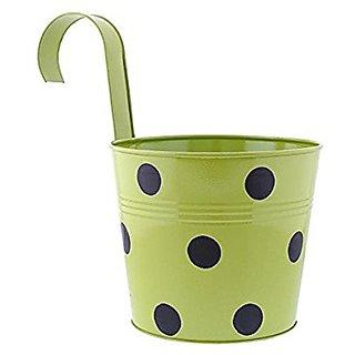Going Greens Single Railing Pot - Green Polka / Metal Railing Pot