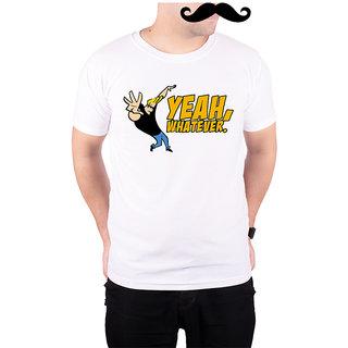 Mooch Wale Johnny Bravo Yeah Whatever  White Quick-Dri T-shirt For Men