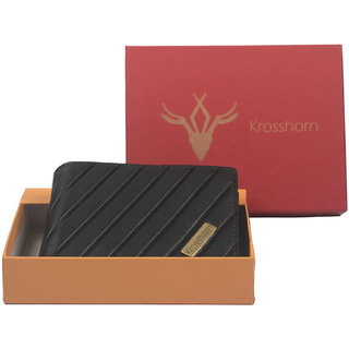 Krosshorn Mens Black Pure Leather Bi-fold Wallets