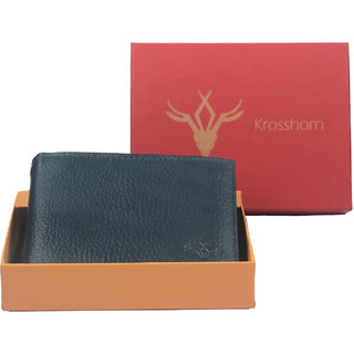 Krosshorn Mens Blue Pure Leather Bi-fold Wallets