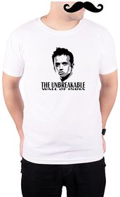 Mooch Wale Rahul Dravid The Unbreakable Wall Of India  White Quick-Dri T-shirt For Men