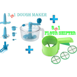 3 in 1 Dough Maker Vegetable Cutter Beater + 3 in 1 Flour Shifter(3 Sieves)