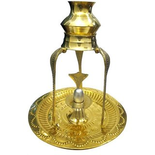 Parad Shivling With Brass Yoni  Kalash with Stand Showpiece - 24 cm