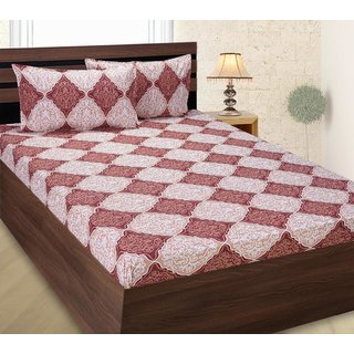 ZAIN Cotton Double Bed Sheet With 2 Pillow Covers, Brown Checkered,  Platinum Series